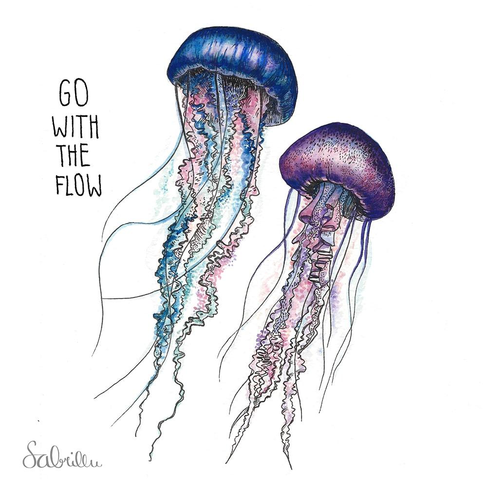 Tusche Aquarell- Zeichnung Quallen