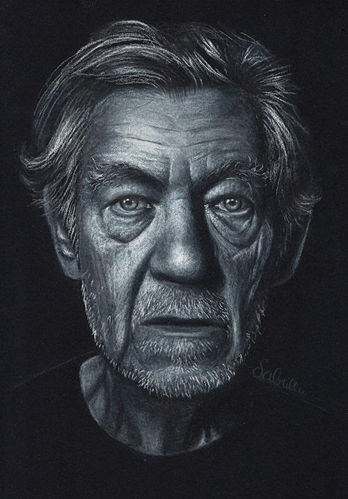 Zeichnung von Ian McKellen - Sabrina Hassler