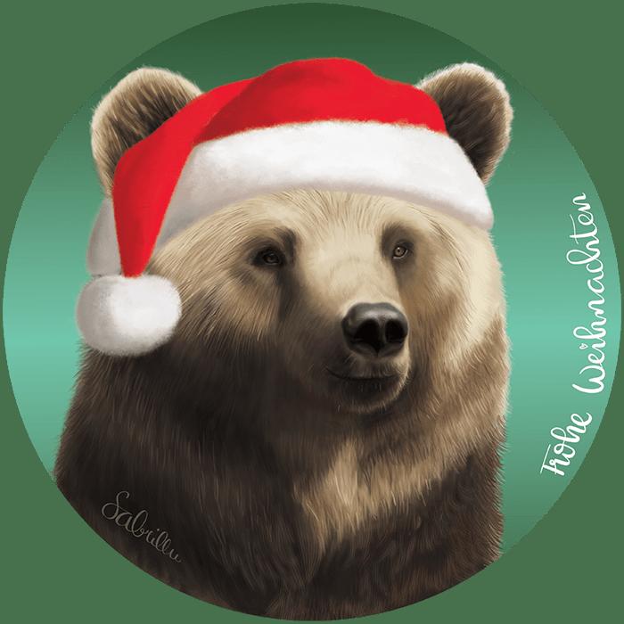 Digitale Zeichnung eines Bären - Weihnachten