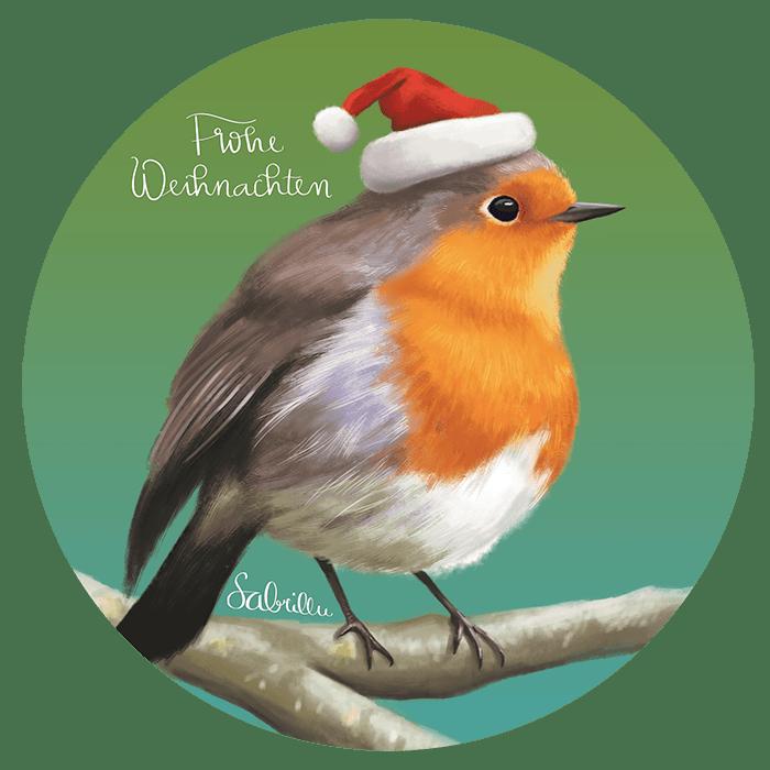 Digital drawing robin christmas