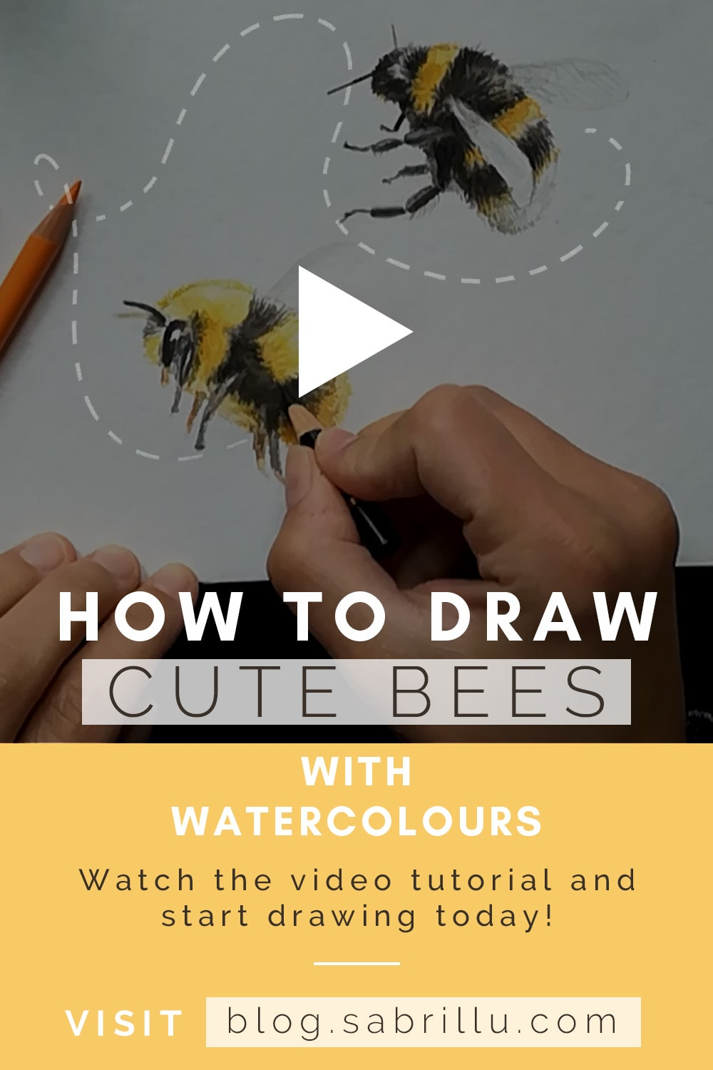 Draw bumble bees with watercolours Pinterest - Sabrillu