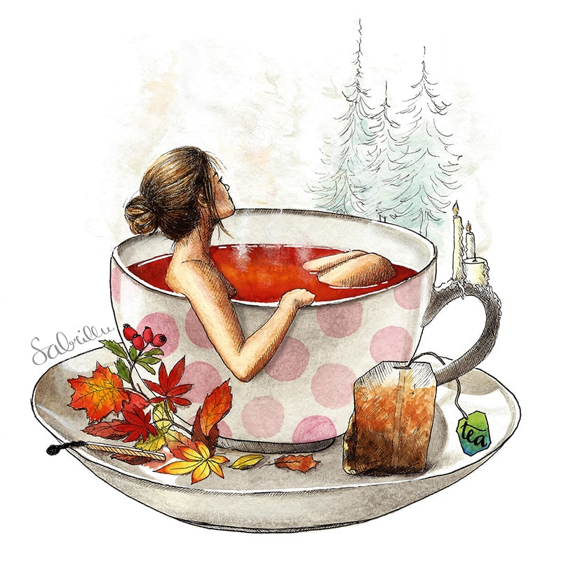 Illustration about tea, cozyness and autumn