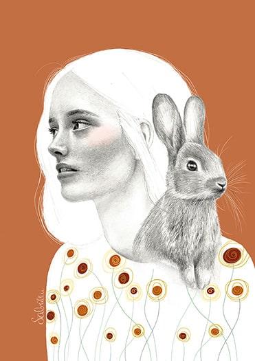 Frau mit Hase Portraitzeichnung
