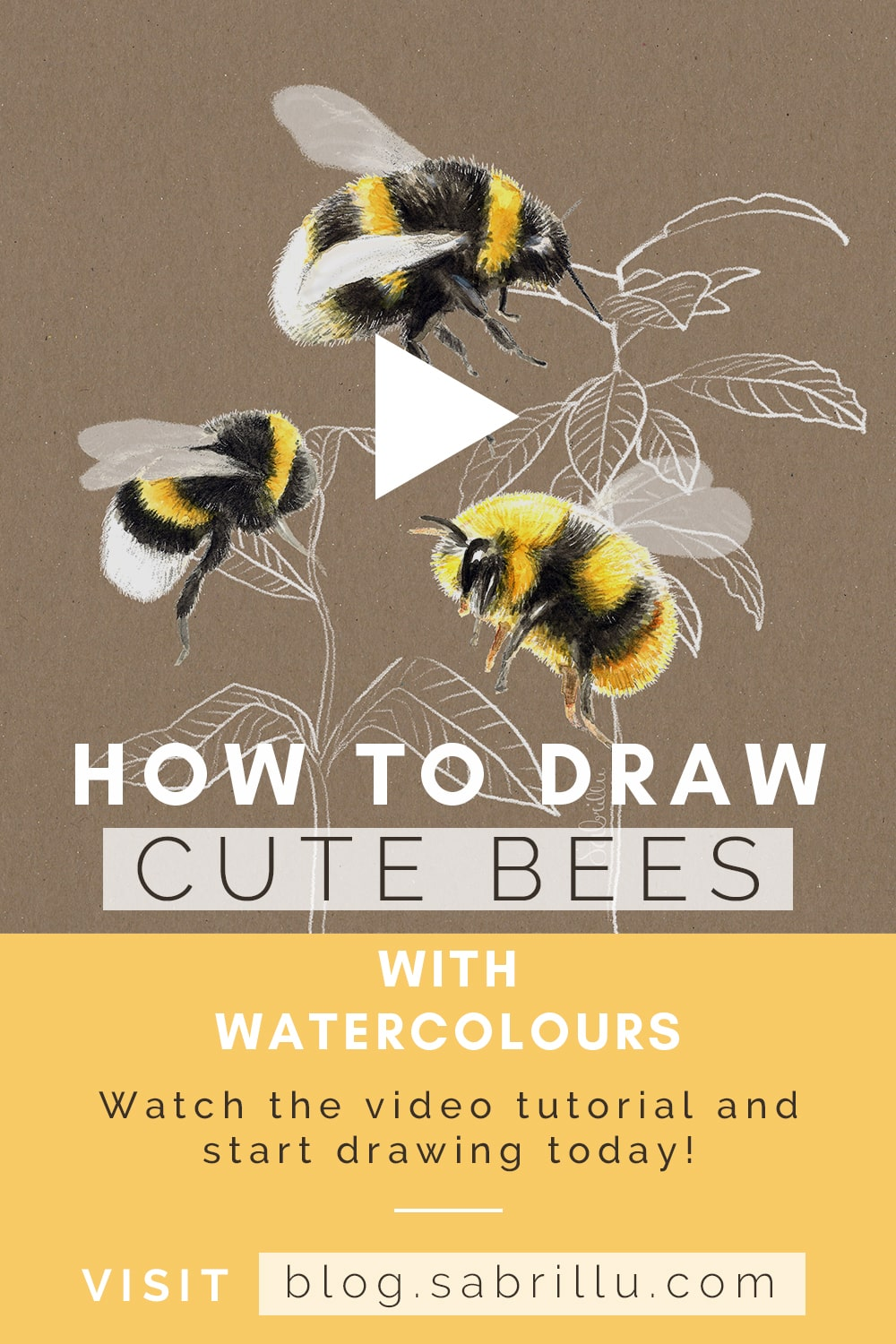 How to draw bumble bees with watercolours - Sabrillu