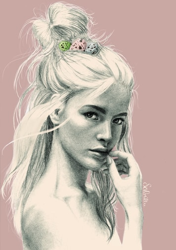 Zeichnung Portrait mit Nest in den Haaren