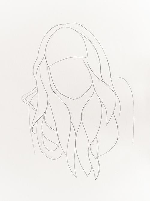 realistische Haare zeichnen Skizze