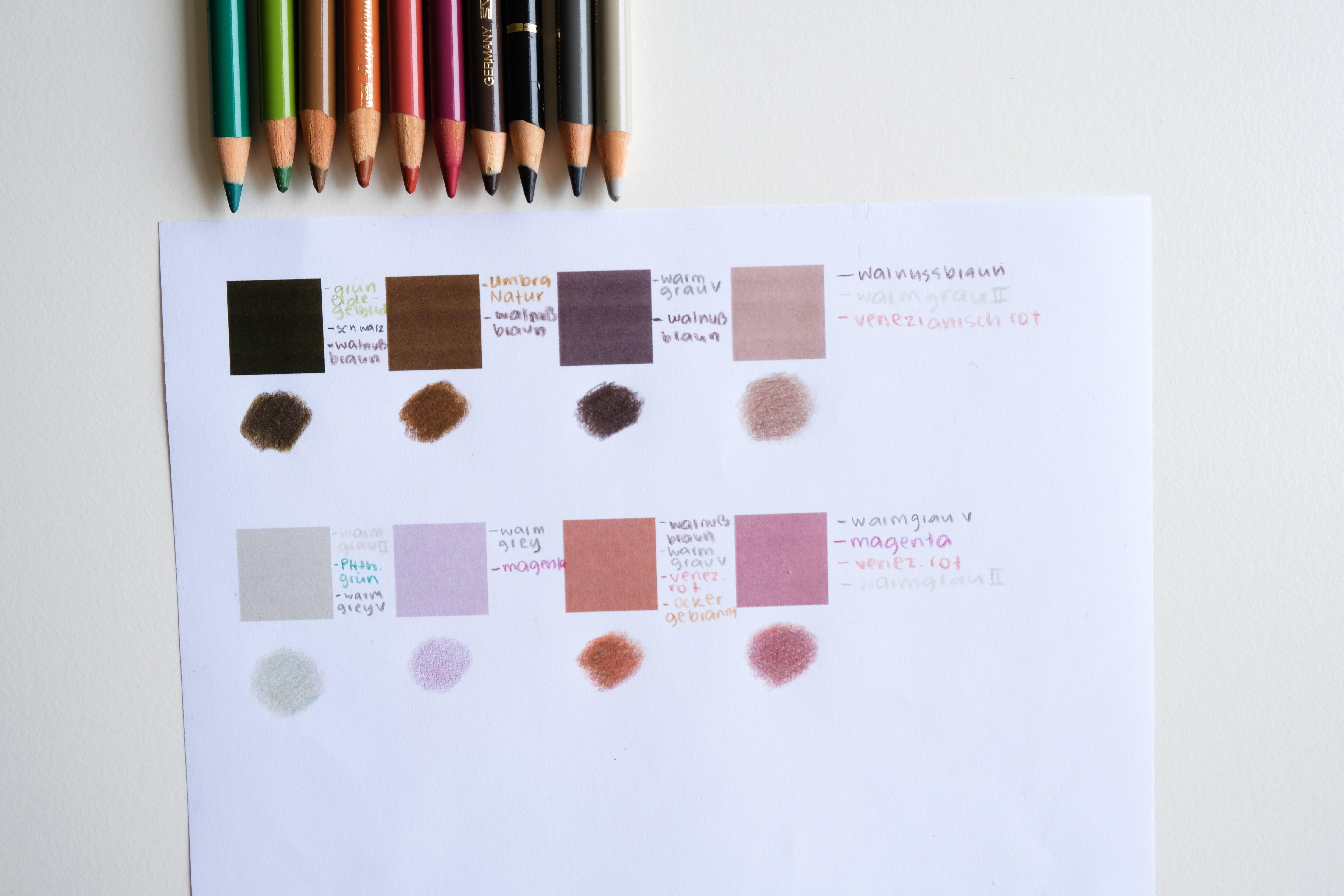 Farbtöne mit Buntstiften nachmischen - Haut zeichnen