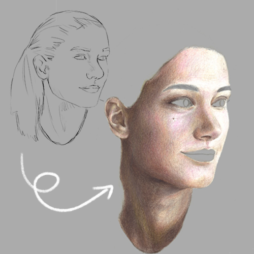 Hauttöne zeichnen - How to draw skin tones with coloured pencils
