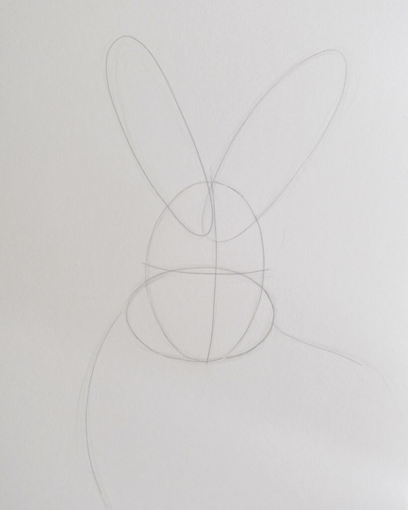 rabbit drawing step one - construction lines - how to draw a rabbit with pencils
