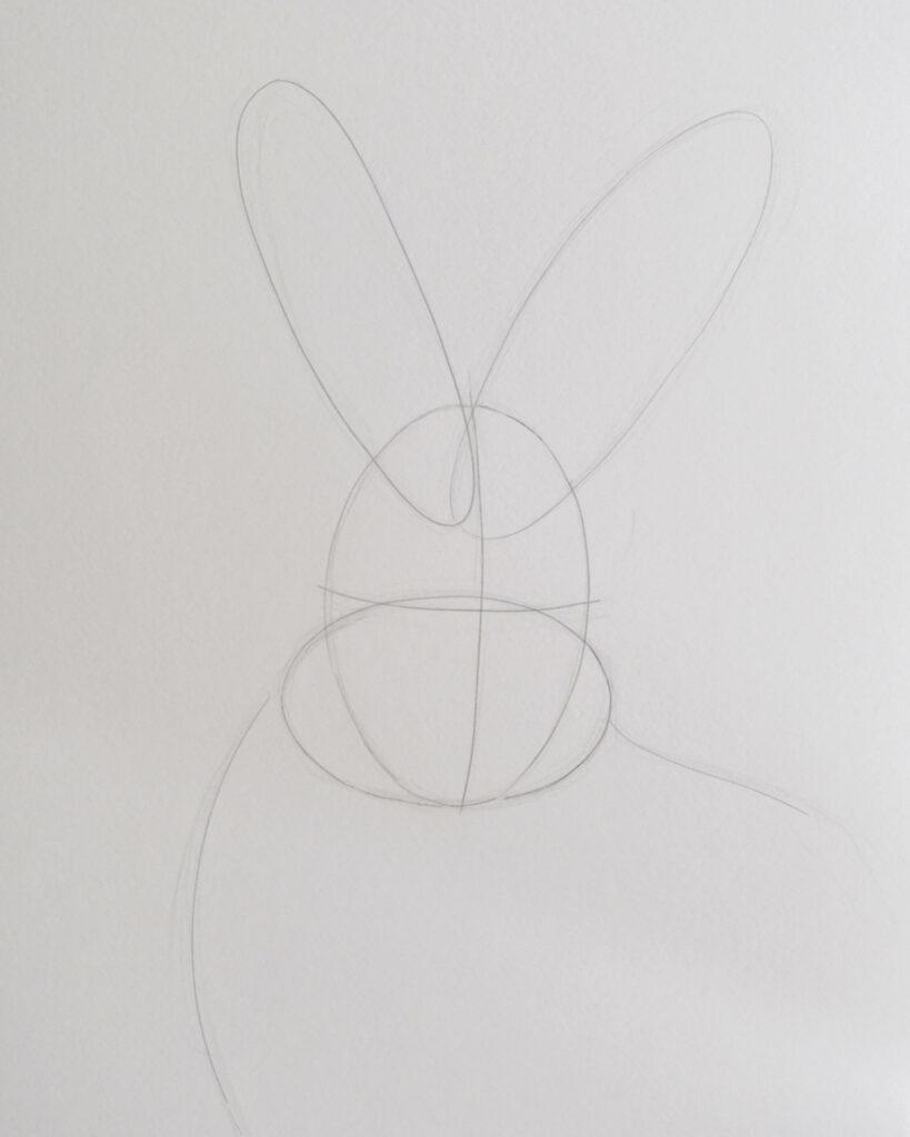 Hase zeichnen, Skizze Konstruktion mit Bleistiften